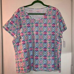 Talbots 3X(22/24W) V-Neck T-Shirt, Short Sleeve